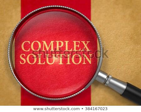 Kompleks rozwiązanie obiektyw starego papieru ciemne czerwony Zdjęcia stock © tashatuvango