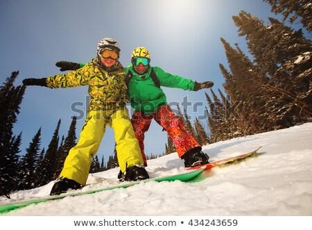 Pár snowboard tél üdülőhely autó hó Stock fotó © artisticco