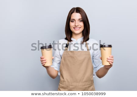 waitress holding coffee to go Stock photo © LightFieldStudios