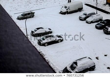 Säule Schnee Stadt Lampe Lichter Weihnachten Stock foto © romvo