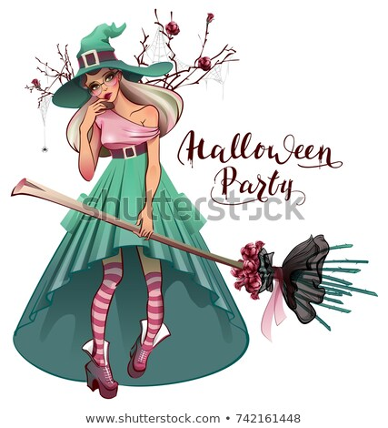 Cosplay fashionable dress for Halloween party. Beautiful young woman witch with broom Stock photo © orensila