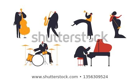 spelen · jazz · mooie · pinup · model · saxofoon - stockfoto © Fisher