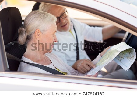 senior man with car and map Stock photo © IS2
