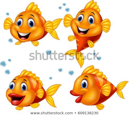Cute tropische vissen cartoon vector glimlach vis Stockfoto © NikoDzhi