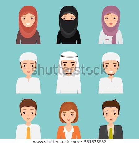 Vector - chador headgear style, beautiful arabic muslim woman -  Stock photo © NikoDzhi