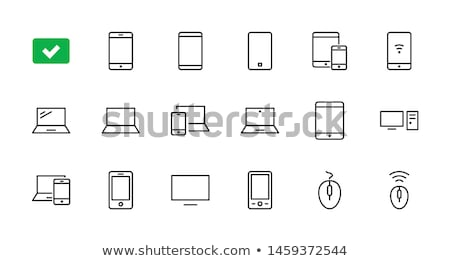 Icons digital devices, thin lines, vector illustration. stock photo © kup1984