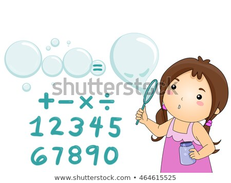Kid Girl Blow Bubbles Solve Equation Stock photo © lenm