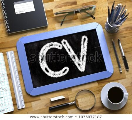 small chalkboard with cv concept 3d stock photo © tashatuvango