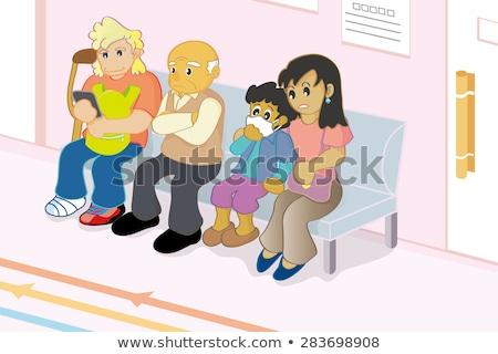 Yaşlı siyah adam bekleme odası tıbbi sağlık yazı Stok fotoğraf © IS2