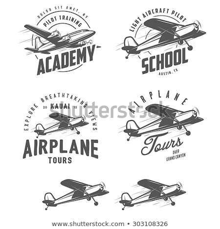 Small propeller airplanes isolated labels Stock photo © studioworkstock