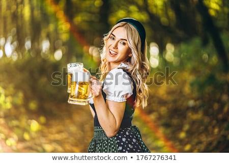 oktoberfest · meisje · bier · illustratie · vrouw · grappig - stockfoto © popaukropa
