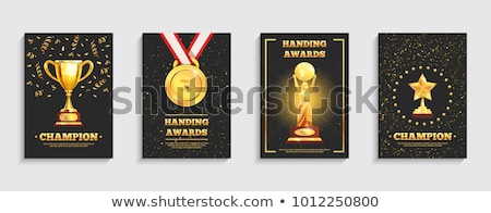 Stock photo: Championship awards poster with winner cups