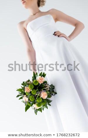 partial view of girl in elegant white dress, isolated on white Stock photo © LightFieldStudios