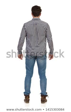 Férfi favágó hátulnézet illusztráció szakállas kaukázusi Stock fotó © lenm