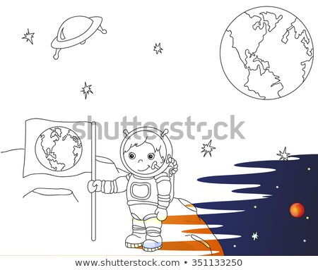 Astronaut with a flag on moon. Space rocket ship coloring book.  Stock photo © popaukropa