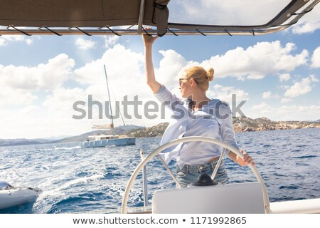 Привлекательная женщина парусника Летние каникулы роскошь лодка счастливым Сток-фото © Anna_Om