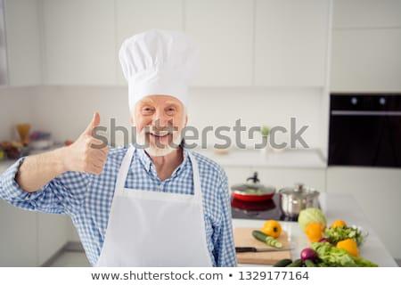 Mann wie Finger up Pop-Art Retro Stock foto © studiostoks