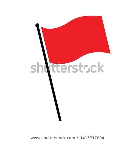 piros · zászló · izolált · fehér · vektor · művészet - stock fotó © Lady-Luck