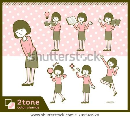 Typu prosto włosy bluzka książki kobiet Zdjęcia stock © toyotoyo