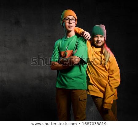 Green clothing glasses boy 2 Stock photo © toyotoyo