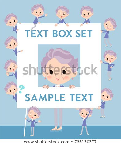 blue one piece old women_text box Stock photo © toyotoyo