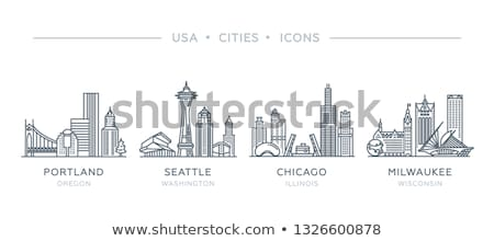 Cartoon Chicago skyline silhouet gebouw stad Stockfoto © blamb
