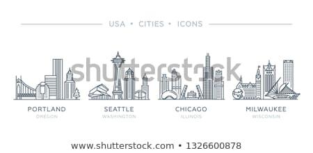 Foto stock: Cartoon Chicago Skyline
