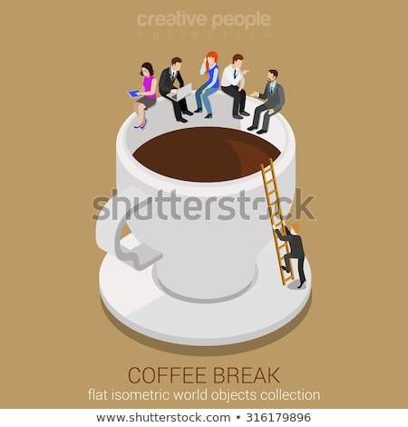 coffee break flat isometric vector conceptual illustration stockfoto © tarikvision
