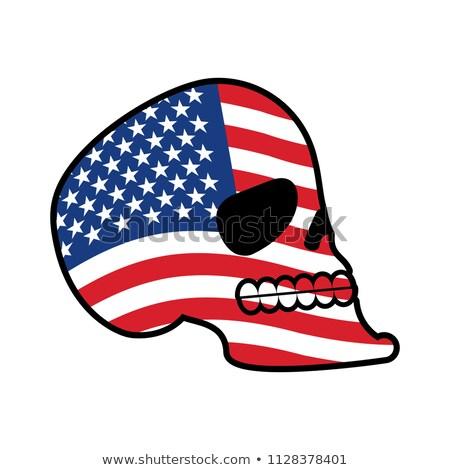 ABD kafatası kafa iskelet bayrak Amerika Stok fotoğraf © popaukropa