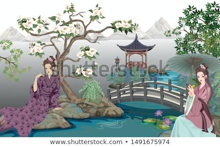 воды · Лилия · цвета · иллюстрация · цветы · зеленый - Сток-фото © lenm