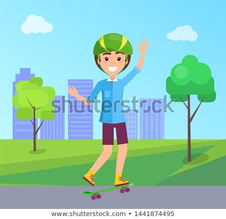 молодые · скейтбордист · скейтборде · стороны · фигурист · зеленый - Сток-фото © robuart
