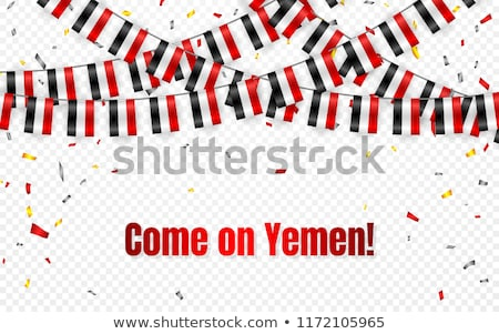 Yemen flags garland on transparent background with confetti. Hang bunting for Yemen independence Day Stock photo © olehsvetiukha