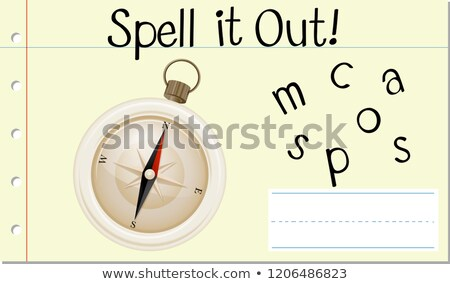 Stock photo: Spell english word compass
