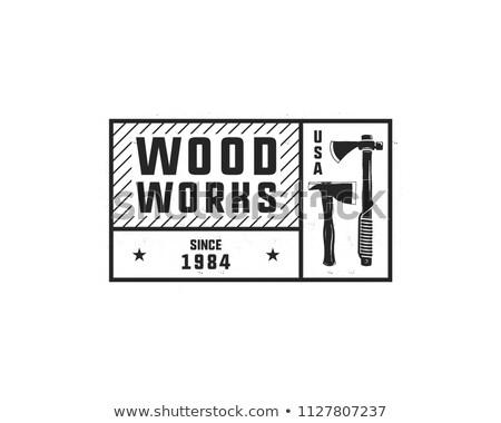 Klasszikus kézzel rajzolt logo embléma ácsmesterség szolgáltatás Stock fotó © JeksonGraphics