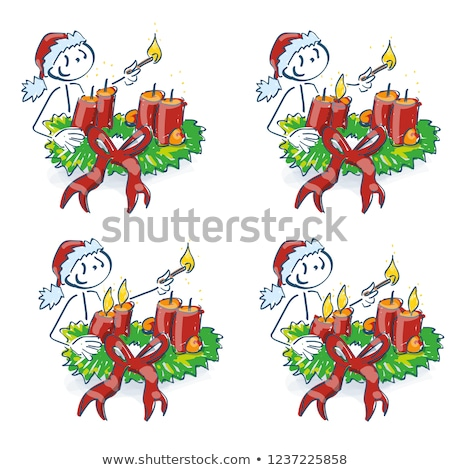 Santa Claus light your candle on the Advent wreath every week Stock photo © Ustofre9
