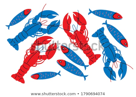 Lobster and Bream Fish Posters Vector Illustration Stock photo © robuart