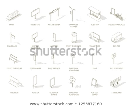 Stock fotó: Szabadtér · hirdetés · média · szett · vektor · izometrikus