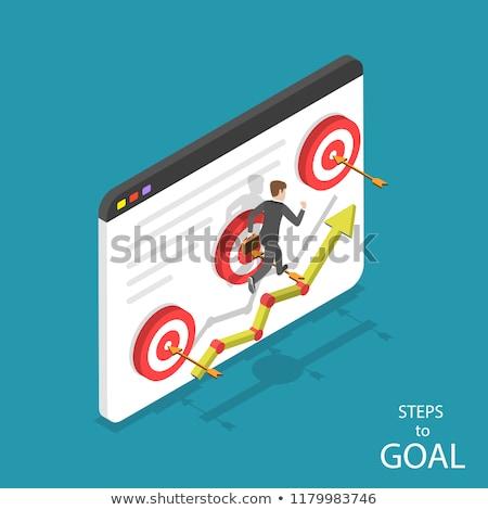 Isometric flat vector concept of business motivation, achievment, ambition. Stock photo © TarikVision