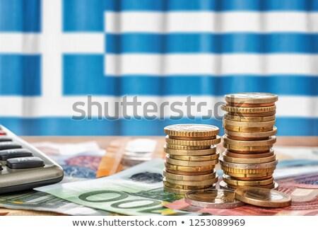 Euro monet banderą Grecja finansów Zdjęcia stock © Zerbor