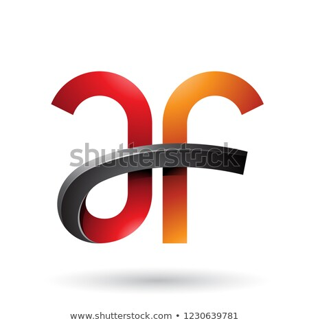 orange and red bold curvy letters a and f vector illustration stock photo © cidepix