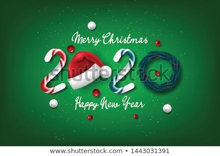 Noel happy new year çam ağacı kırmızı süsler kart Stok fotoğraf © cienpies