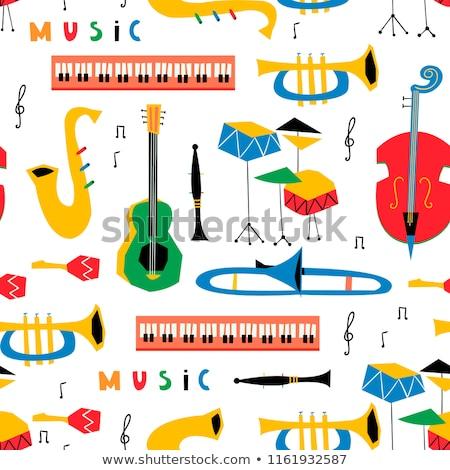 Trompeta notas musicales ilustración música fondo arte Foto stock © colematt