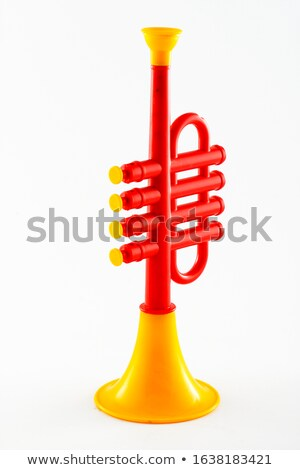 Christmas child playing the flute on a white background Stock photo © Imaagio