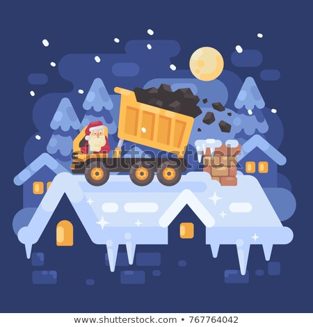Santa Claus in a yellow tipper truck on a rooftop unloading coal Stock photo © IvanDubovik