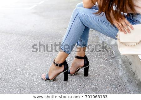 подробность · сидят · женщину · Летняя · обувь · женщины - Сток-фото © phbcz