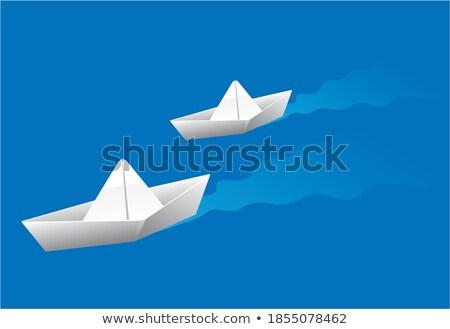 оригами лодках парусного морем иллюстрация пейзаж Сток-фото © colematt