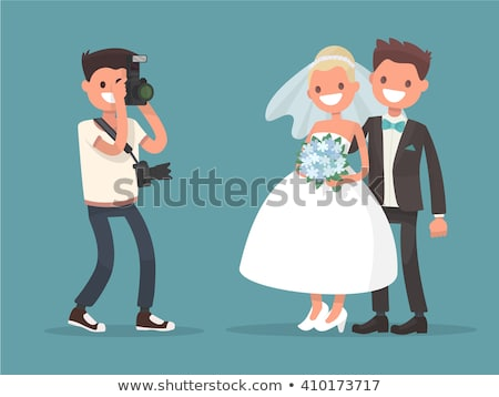 Happy Couple Wedding Bride Groom Photograph Vector Stock photo © robuart