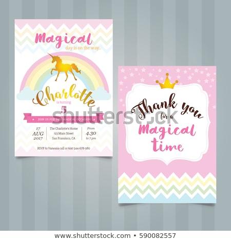 unicorn and rainbow princess party set vector stock photo © robuart