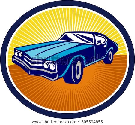 Muscle car ovale rétro style rétro illustration Photo stock © patrimonio