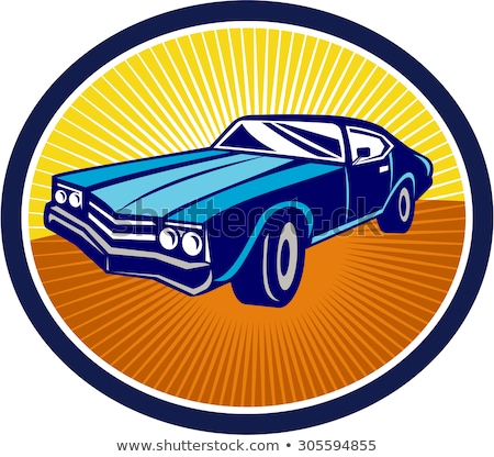 Americano muscle car oval retro estilo retro ilustración Foto stock © patrimonio